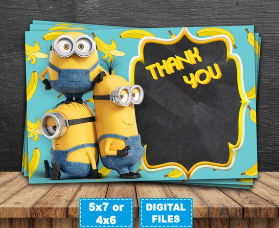 Minions Thank You Card Despicable Me Thank You Card Minions Etsy