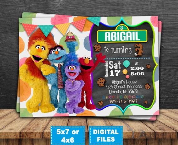 Sesame Street Zaproszenie Elmo Zaproszenie Cookie Monster Etsy