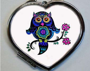 OWL Pocket mirror heart shape