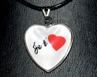 """glass heart pendant necklace """"I love you"""""""