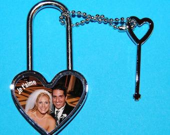 Heart shaped padlock photo and text