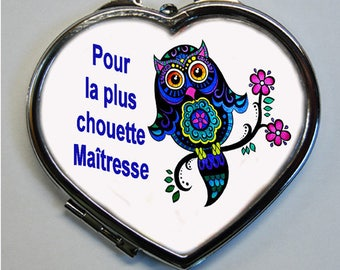 """OWL Pocket mirror heart shaped """"for the OWL lover"""""""