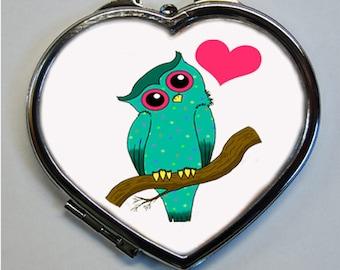 OWL Pocket mirror heart heart shape