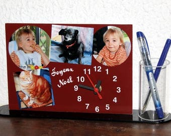 Geometric 4 photos personalized pencil holder desk clock