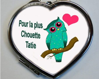 "OWL Pocket mirror heart heart shape ""for the coolest Aunty"" MOD 2"