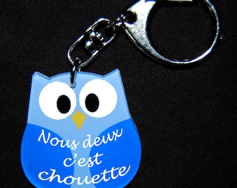 """Blue OWL Keychain with message """"We're nice"""""""