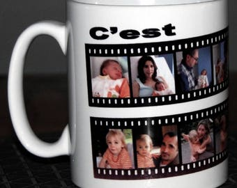 Personalized white ceramic mug wrap with 16 pictures