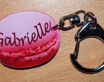 Pink macaroon Keyring personalised with a name or text