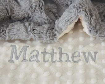 Custom baby blanket etsy custom baby blanket personalized baby blanket gray lattice minky dot baby blanketnewborn girl newborn boy baby blanket name blanket negle Choice Image