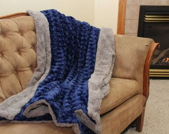 Large Adult Minky Blanket, Personalized Gift for Adults, Logo Gift, Luxury Throw Blanket - Optional Personalization
