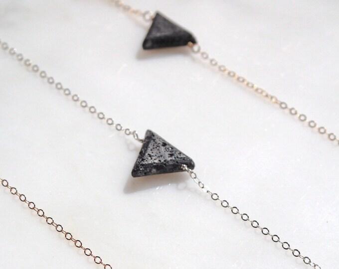 Minimalist lava triangle essential oil diffuser necklace,  aromatherapy necklace, triangle diffuser, modern minimal aromatherapy jewelry