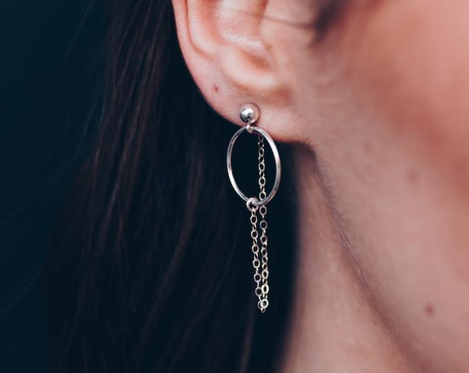 Sterling Silver Minimalist Modern  dainty earrings, silver dainty earring chains, gold Filled threader earrings, long ear cuff