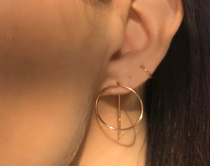 Rose Gold circle Geometric threader earrings, rose gold hoops, minimal  modern everyday earrings, ear huggers, gold ear jackets,