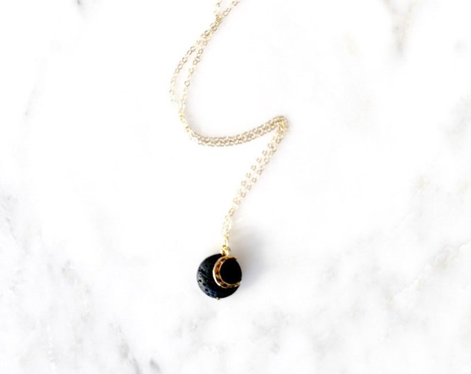 Crescent Moon diffuser necklace, aromatherapy, aromatherapy necklace essential oil necklace diffusers, gold filled diffuser, eo diffusing