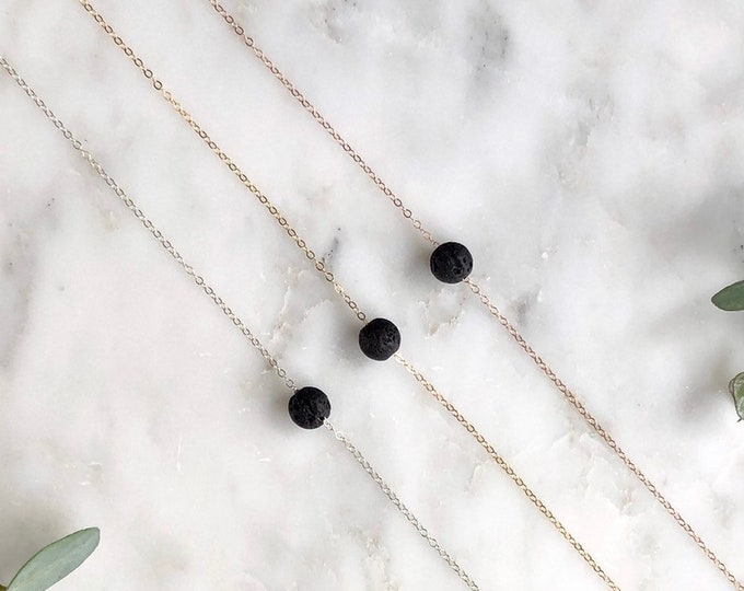 Lava rock Diffuser Necklace, Essential oil Necklace, essential oil jewelry , gift for her, dainty diffuse necklace, aromatherapy necklace