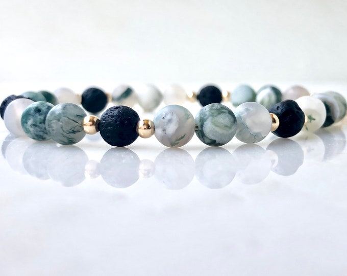 Tree agate Essential oil diffuser bracelet, lava stone and agate bracelet, green and gold diffuser, beaded bracelet, gemstone diffuser