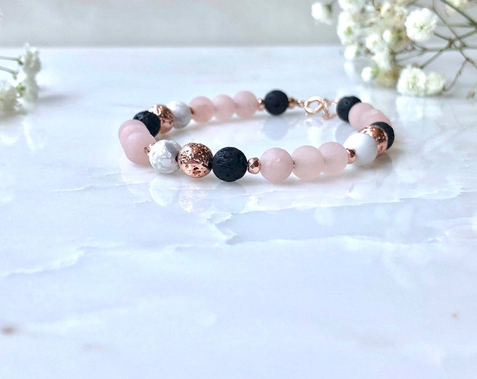 Rose gold essential oil diffuser bracelet, lava rock diffuser, pink jade and howlite beaded bracelet, marble and pink bracelet