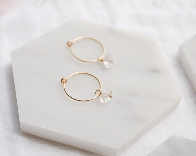 Herkimer Diamond gold filled small hoops, small diamond hoops, gold herkimer hoops, herkimer diamond earrings, Crystal earrings