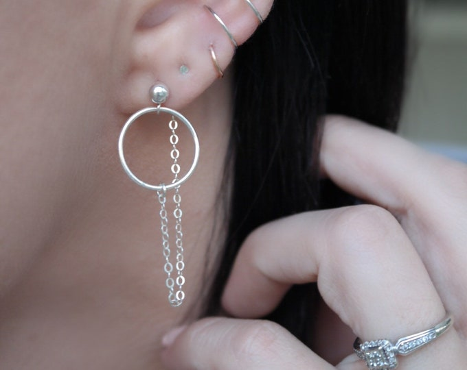 Minimalist chain dangle earrings, silver dainty earring chains,