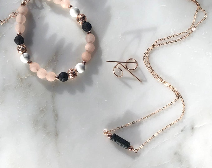 Rose gold diffuser necklace and bracelet set, rose gold aromatherapy jewelry, dainty diffuser necklace, essential oil diffuser bracelet gift