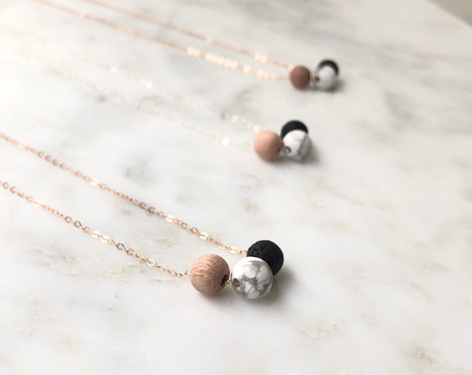 Wood lava and marble diffuser necklace, wood essential oil diffuser jewelry, lava rock essential oil jewelry, rose gold, sterling silver