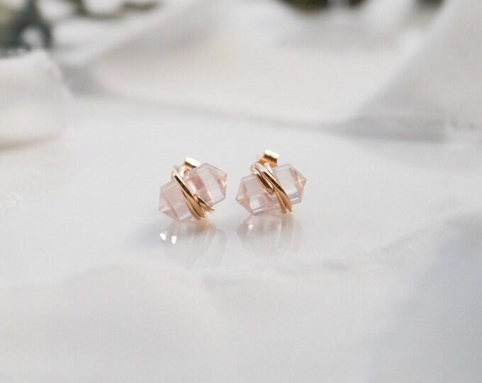 Pink Rose Quartz Gold Filled Point Stud Earrings, tiny Stud gemstone earrings, Rose Quartz Gold Filled Stud Earrings