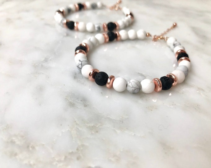 Rose gold essential oil diffuser bracelet, marble diffuser, rose gold diffuser, lava rock bracelet, rose gold beaded bracelet, howlite