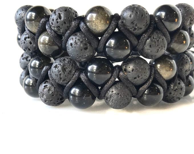 Men's diffuser bracelet, lava and obsidian beaded bracelet, men's yoga bracelet, unisex bracelet, bracelet diffuse, essential oil bracelet