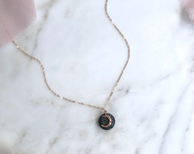 Crescent Moon lava rock aromatherapy diffuser necklace, aromatherapy, aromatherapy necklace rose gold essential oil necklace diffusers
