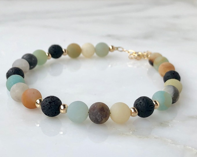 Amazonite Gemstone beaded bracelet essential oil diffuser bracelet, lava rock essential oil jewelry, Gold Green mint orange beaded bracelet