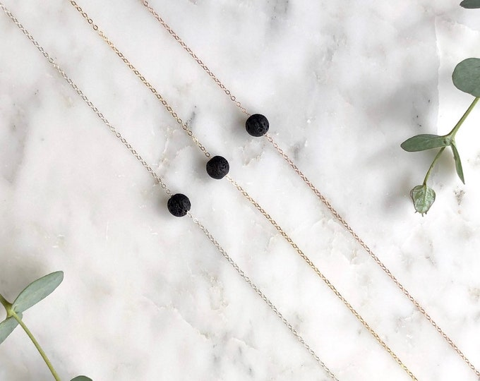 Lava Bead Diffuser Necklace, Essential oil Necklace, sterling silver, single bead, gift for her, minimalist, dainty diffuser necklace, jw