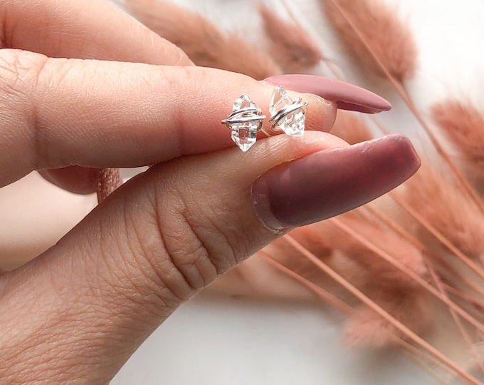 Herkimer Diamond Studs stud Earrings Minimalist Post April Birthstone 14K Gold Filled Rose Sterling Silver Tiny Diamond Stud Earrings