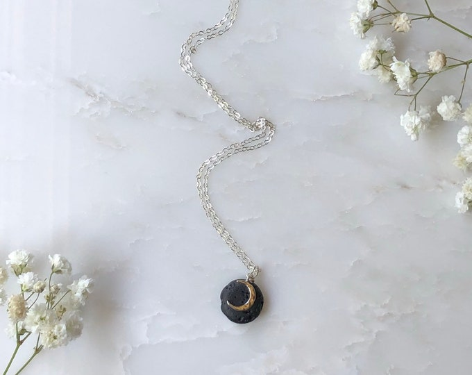 Crescent Moon diffuser necklace, aromatherapy, diffuser jewelry, essential oil necklace, diffusers, gold filled diffuser, diffusing necklace