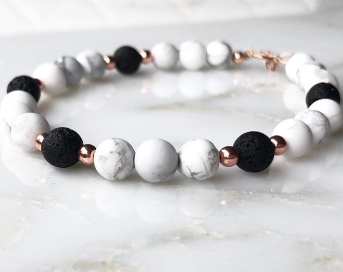 Gemstone essential oil diffuser bracelet, marble lava stone diffuser, rose gold beaded diffuser bracelet, aromatherapy