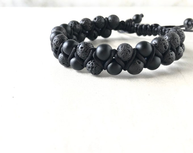 Mens onyx and lava stone bracelet, essential oil diffuser bracelet, mens bracelet, husband gift, gift for him, boyfriend gift, yoga bracelet