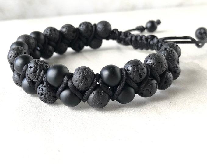 Mens onyx and lava stone bracelet, essential oil diffuser bracelet, mens bracelet, husband gift, gift for him, boyfriend gift, yoga bracelet