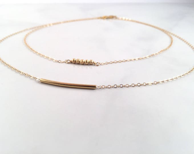 Gold bar Minimalist Gold necklace, Dainty Gold Necklace, Modern Gold Choker, Gold filled tube necklace, layering necklace, layering jewelry