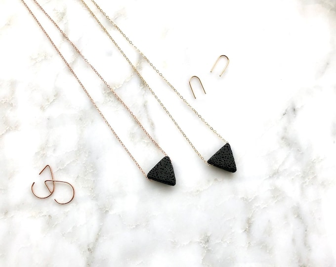 Akila, Triangle diffuser necklace, aromatherapy, geometric diffuser, essential oils necklace, diffuser necklace, rose gold diffuser