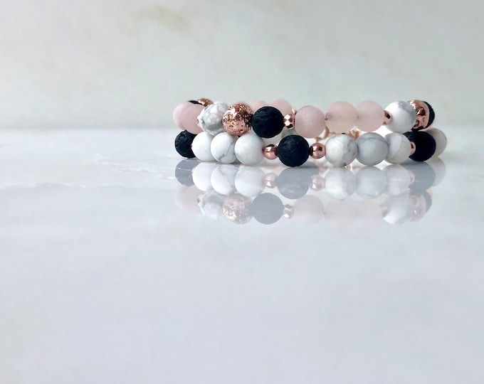 Pink and marble essential oil beaded bracelet diffuser, rose gold lava rock diffuser bracelet, beaded bracelet set, essential oil jewelry