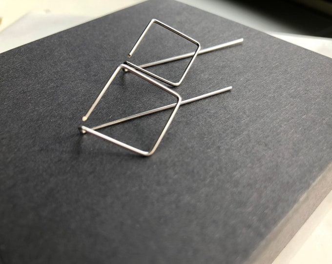 Silver Geometric earrings, modern minimalist earrings, diamond shape earring jacket, silver threaders, minimal earrings, geometric jewelry