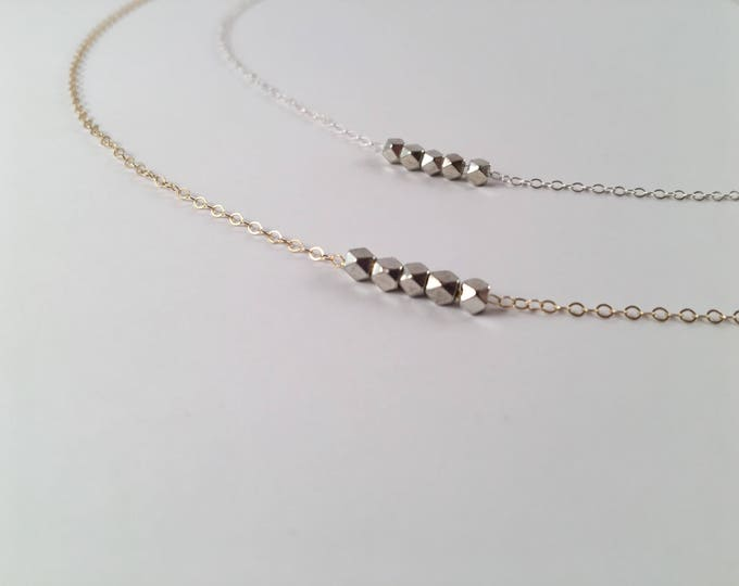 Minimalist dainty necklace beaded necklace, mixed metals necklace,minimalist jewelry, layering jewelry, dainty gold necklace
