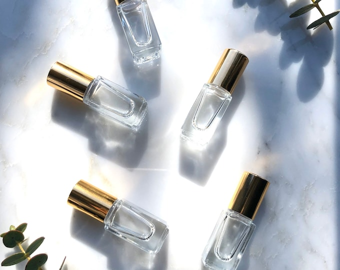 Gold top essential oil roller bottle, square glass EO roller, perfume roller bottle, EO tools, eo accessories, 3ml square roller, gold
