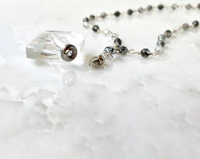 Silver Essential oil gemstone necklace, perfume necklace, quartz jewelry, amethyst jewelry, essential oil jewelry, vile necklace.