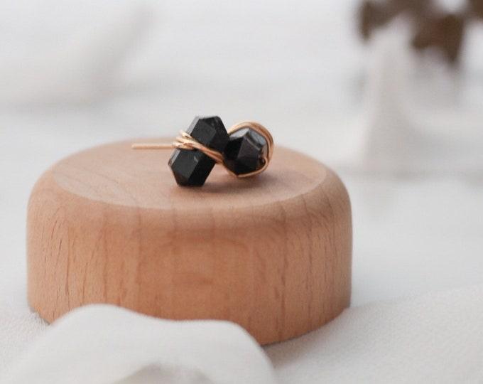 Gold and Black Onyx Gemstone Stud Earrings, Black Onyx studs, gold filled stud earrings