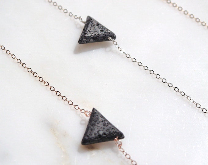 Petite triangle lava stone essential oil aromatherapy necklace, triangle diffuser, modern minimal aromatherapy jewelry
