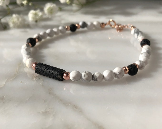 Lava stone essential oil diffuser bracelet, rose gold diffuser bracelet, aromatherapy, marble and rose gold bracelets, beaded bracelets, EO
