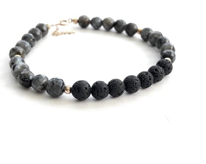 Kia Silver Essential oil diffuser bracelet, aromatherapy jewelry, lava stone beaded bracelet, labradorite gemstone diffuser, essential oil