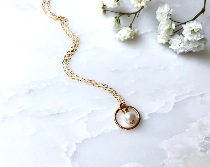 Tiny pearl on rose gold filled chain, Dainty pearl necklace, gold filled dainty necklace, petite pearl, bridesmaids gift, gift for her,
