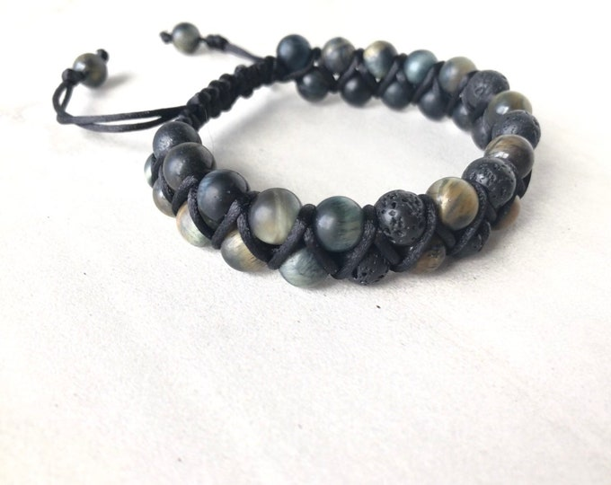 Mens Blue tigers eye diffuser bracelet, essential oil diffuser jewelry, lava stone double strand bracelet, shamballa style bracelet,
