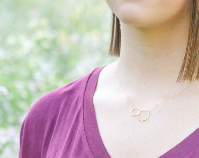 Eternity Necklace, Silver Infinty necklace , Gold infinity necklace, Best friend Necklace, Double circle necklace